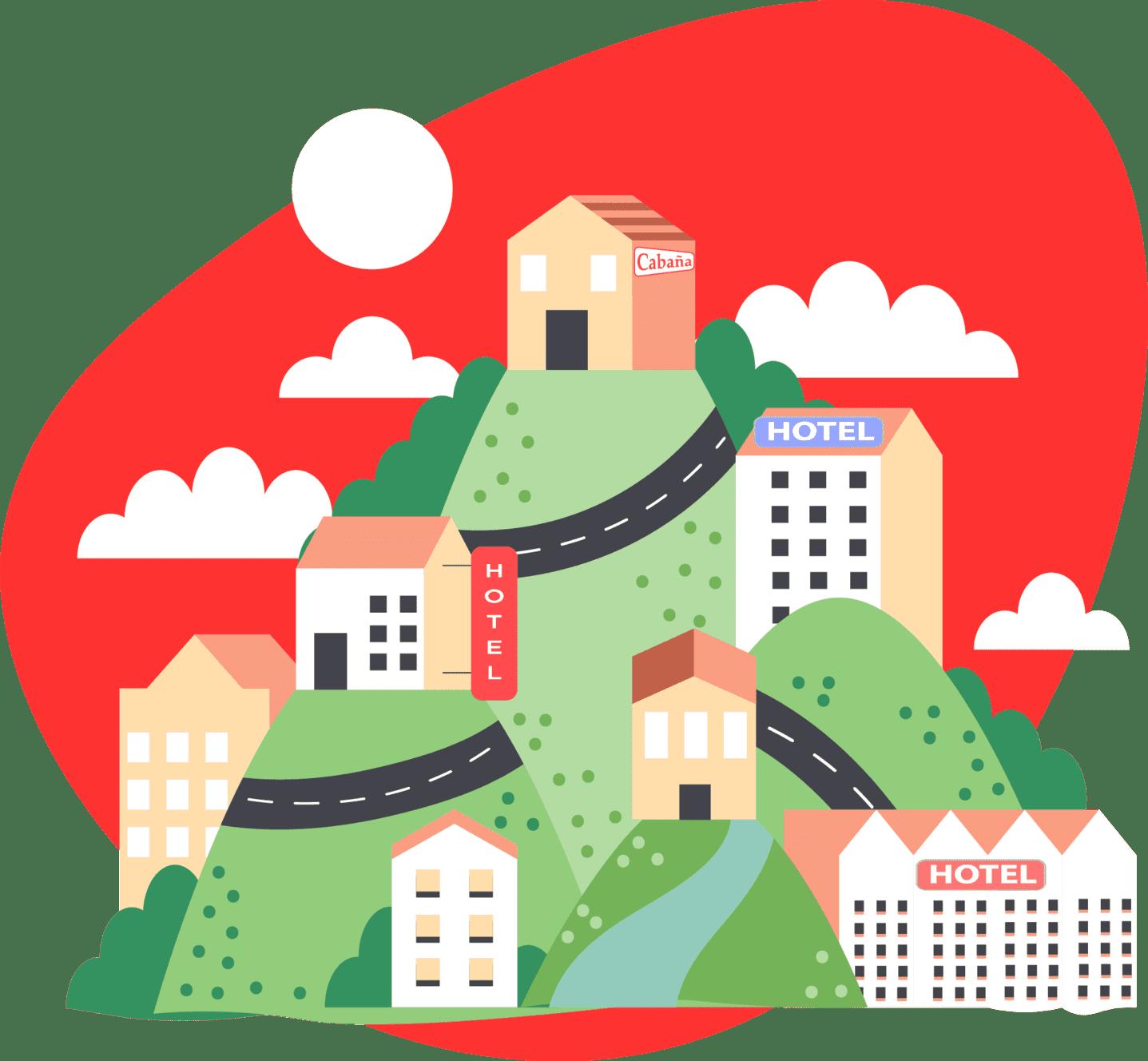 ciudad con hoteles ocupados